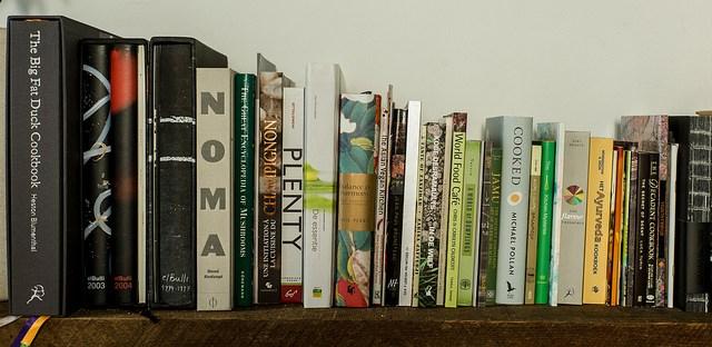 cookbooks on shelf